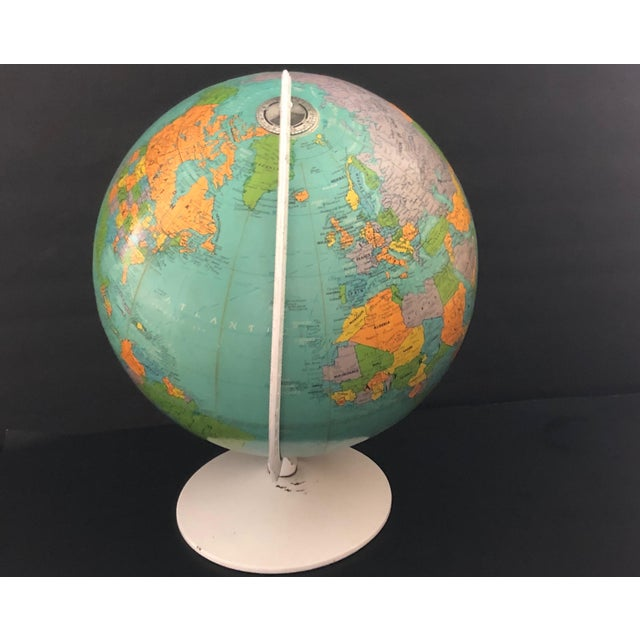 1970s 1970s Vintage Blue Replogle Table Globe With White Base For Sale - Image 5 of 13