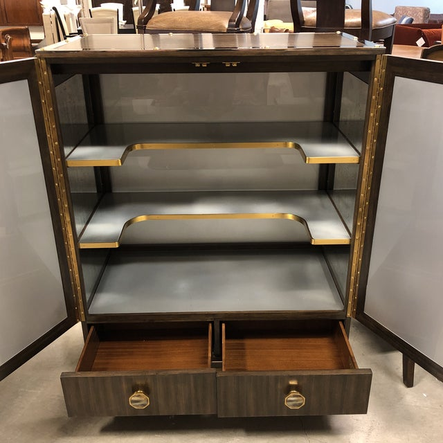 Gray New Henredon Barclay Street Bar Cabinet For Sale - Image 8 of 13