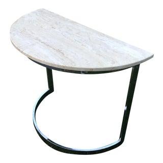 Mid-Century Modern Milo Style Chrome Marble Demilune Table