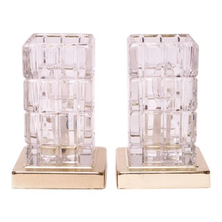 Pair of Vintage Hollywood Regency Portuguese Crystal and Brass Table Lamps For Sale