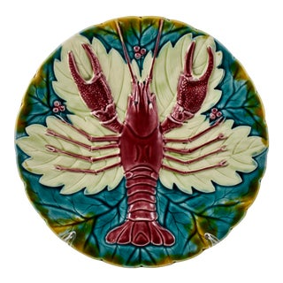 Austrian Schutz Blansko Majolica Lobster Plate, Multiples Available For Sale