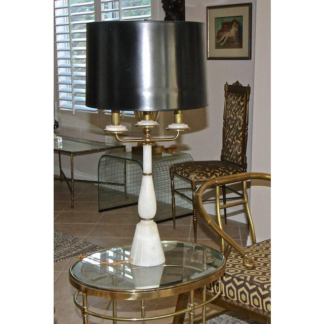 Italian Gio Ponti Style Alabaster Brass Lamps - a Pair For Sale - Image 12 of 13
