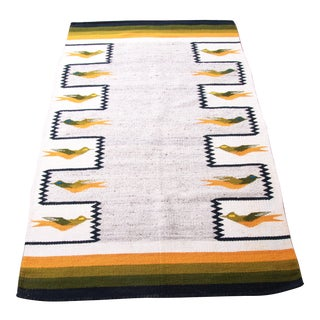 Vintage Navajo Wool Rug or Wall Hanging With Geometric Bird Design For Sale