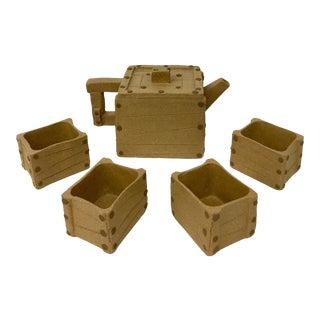 1960s Asian Earthenware Clay Artisan Tea Set - 5 Pieces