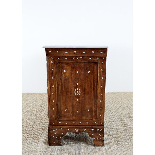Wood Moorish Pearl Inlay Carved Wedding Chest of Drawers For Sale - Image 7 of 13