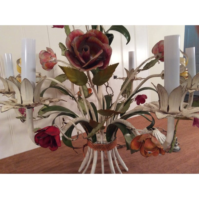 1950s 1950s French Multi Colored Flower Toleware 6 Light Chandelier For Sale - Image 5 of 10