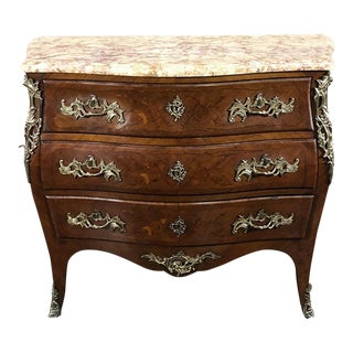 19th Century French Louis XV Bombe Marble Top Commode For Sale