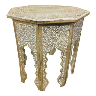 1970s Moroccan Handcarved Side Table For Sale