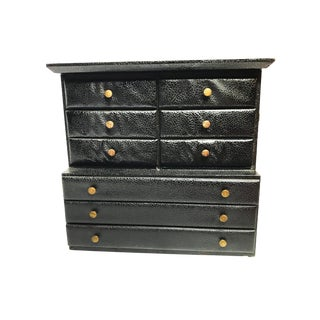 Large Vintage Mid Century Black Vinyl Jewelry Box With Metal Hardware and Red Lined Drawers For Sale