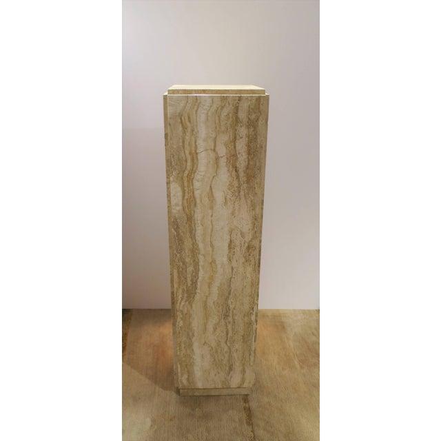 1970s Italian Modern Travertine Marble Pedestal Column For Sale - Image 5 of 7