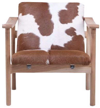Hans Wegner Style Cowhide Armchair / Brand New
