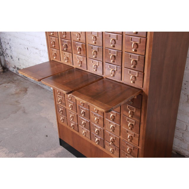 Brown Mid-Century 72-Drawer Library Card Catalog For Sale - Image 8 of 13