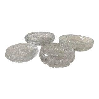 1960s Cut Crystal Vintage Ashtrays/ Catchalls - Set of 4 For Sale