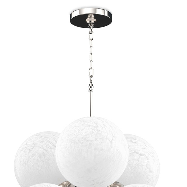 Not Yet Made - Made To Order La Dame Chandelier in Swirl Glass Polished Nickel For Sale - Image 5 of 7