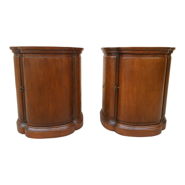 Henredon Walnut Clover Shaped End Tables - A Pair For Sale