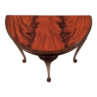 English Edwardian Flame Mahogany Topped Georgian Style Demi-Lune Console Table For Sale