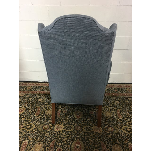 Queen Anne Style Blue Upholstered Wingback Chair - Image 4 of 6