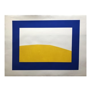 Blue & Yellow Abstract Lithograph