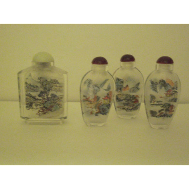 Peking Back Painted Glass Bottles - Set of 4 - Image 4 of 11