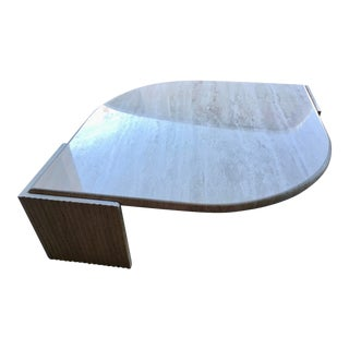 Large Italian Travertine Teardrop Coffee Table by Stone International For Sale