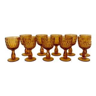Mid-Century Amber Glass Goblets - Set of 10 For Sale
