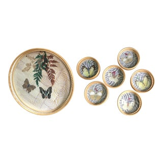 Bamboo Butterfly Tray and Coasters - 7 Pieces For Sale