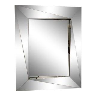 Italian Mirror With Angular Chrome Frame For Sale