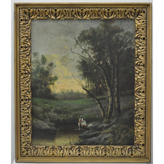 19th Century Forested Landscape Oil Painting - Image 2 of 8