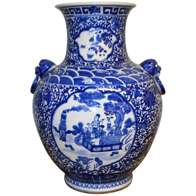 Large Blue & White Chinese Porcelain Vase with Figural Subjects and Foo Handles For Sale
