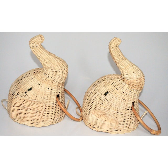 Elephant Wall Mount Wicker Towel Rings - a Pair For Sale - Image 11 of 12