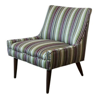 Vintage Mid Century Paul Smith Fabric Petite Slipper Chair For Sale