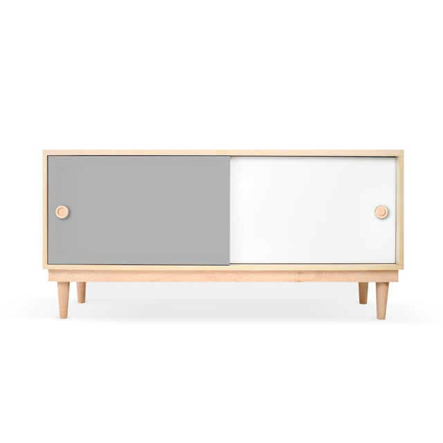 Modern Nico & Yeye Luke Modern Kids Credenza Console Solid Maple and Maple Veneers Gray For Sale - Image 3 of 3