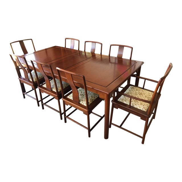 Solid Rosewood Dining Set, Extension Table With 8 Chairs For Sale