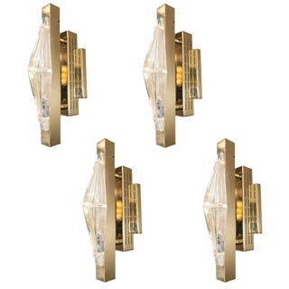 Fabio Ltd Crystal Gold Sconces / Flush Mounts (4 Available) For Sale