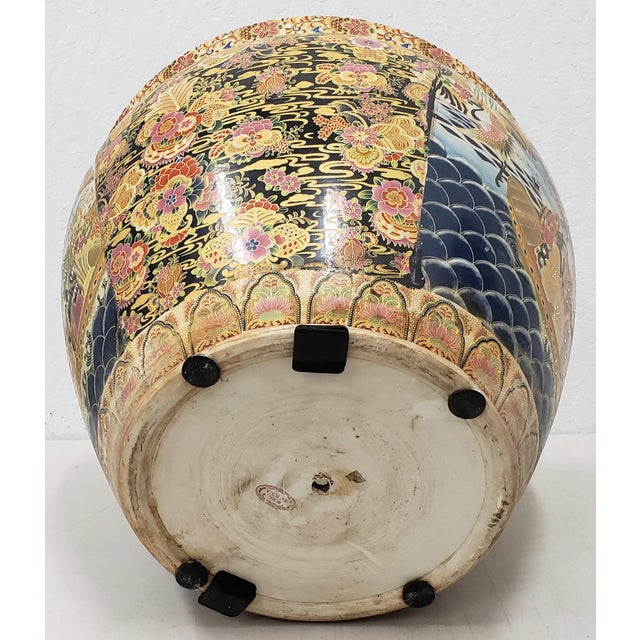 Royal Satsuma Japanese Hand Painted & Transferware Planter C.1950s For Sale - Image 9 of 10