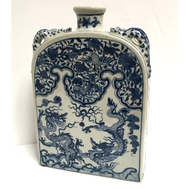 Blue Chinese Dragon Flat-Front Vase - Image 5 of 11