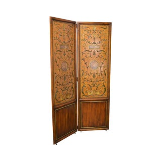 Maitland Smith Large 2 Panel Hand Painted Folding Dressing Screen For Sale