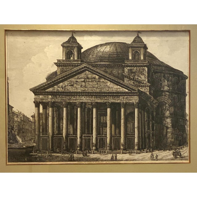 An 18th Century Italian engraving by Piranesi of the Pantheon in Rome.