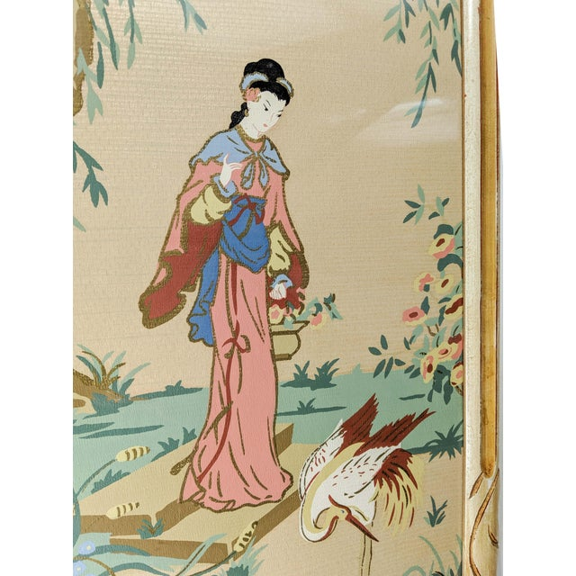 Vintage Asian Silk Screen Hand Painted Prints With Gold. Pair of 2 For Sale In New York - Image 6 of 8