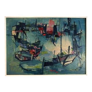 """1960's Vintage """"Long Thien Shih"""" Abstract Painting"""