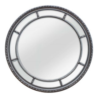 Augusta Antique Silver Solid Wood Round Wall Mirror For Sale