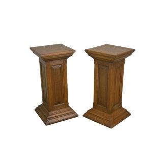 Antique Oak Pair Column Pedestals For Sale