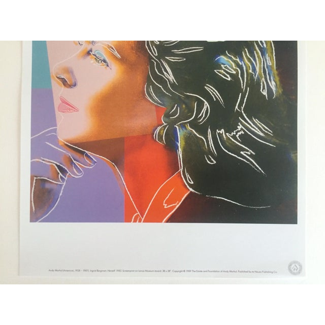 """Contemporary Andy Warhol Estate Vintage 1989 Pop Art Lithograph Print """" Ingrid Bergman Herself """" 1983 For Sale - Image 3 of 10"""