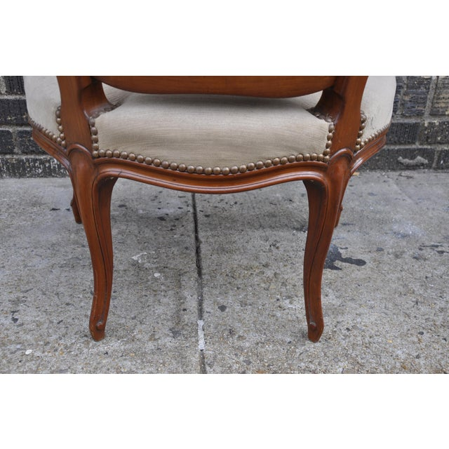 Vintage French Taupe Velvet Walnut Louis XV Rococo Style Armchair Fauteuil For Sale - Image 9 of 12