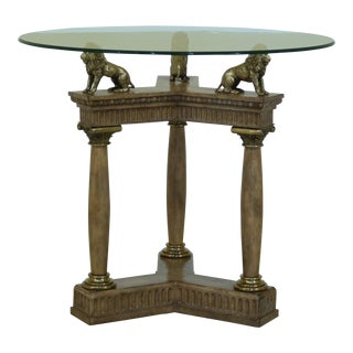 Maitland Smith Round Glass Top Center Table W. Lions For Sale