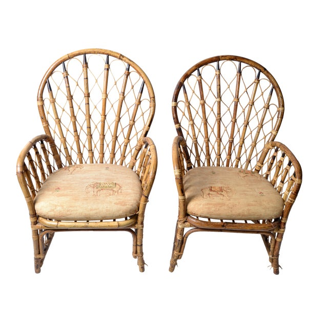Rattan & Bamboo Dining Chairs - A Pair For Sale
