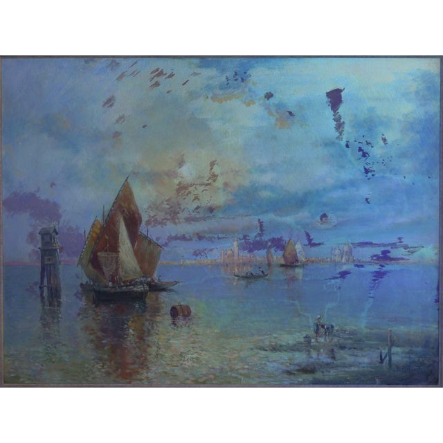 """""""View of Venice"""" Antique Oil Painting by Nicholas Briganti (American, 1861-1944) For Sale - Image 11 of 13"""