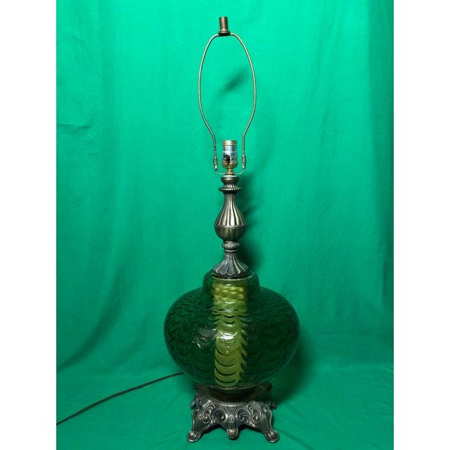Glass Vintage Hollywood Regency Green Glass Lamp For Sale - Image 7 of 7
