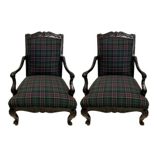 Pair of Ralph Lauren Plaid & Lacquer Bergere Chsirs For Sale