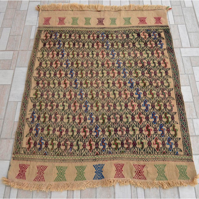 "Vintage Braided Kilim Rug Turkish Hand Woven WoolRug Sofreh - 3' X 3'10"" For Sale - Image 4 of 9"